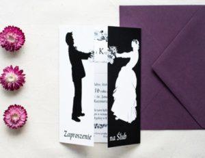 model zaproszenia ślubnego w kolorze czerni i bieli