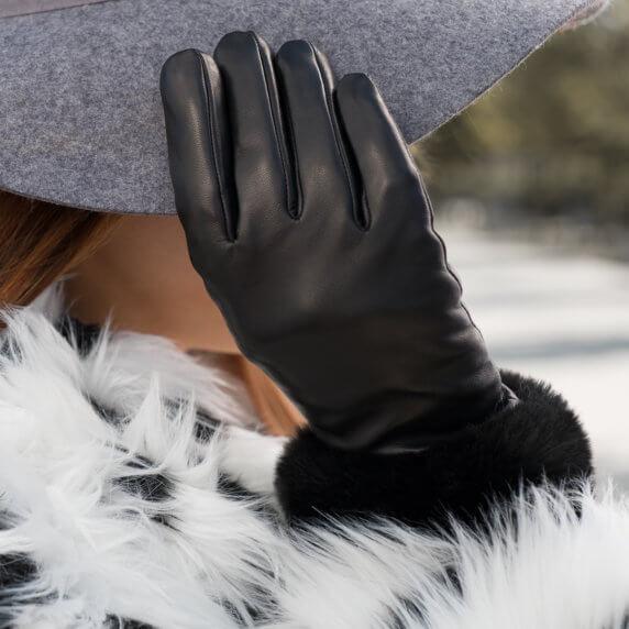 Zimowe rękawiczki damskie z futerkiem
